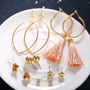 Jewelry - Dusty Pink Tassels + Gold Boho Stud Earrings Set